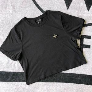 TOPSHOP Crop T Shirt w Bee Rhinestone Badge US 6